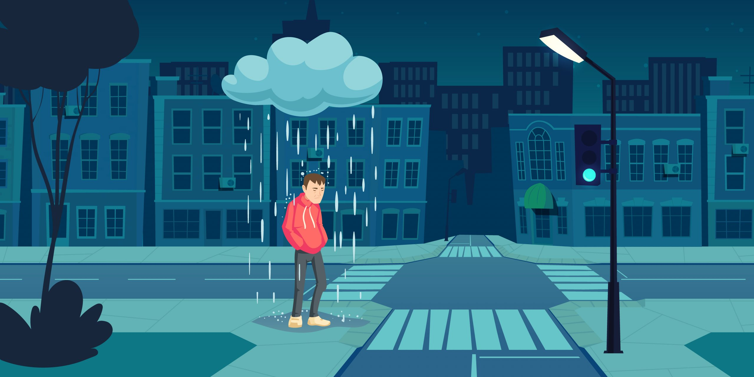 Depressed man stand under cloud with falling rain